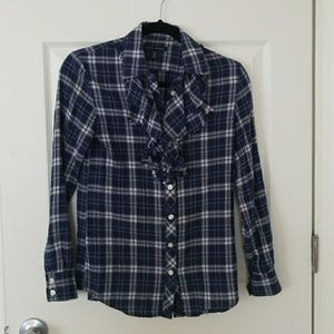Banana Republic plaid ruffle button down